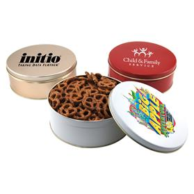 Smaller Gift Tin with 3 way Nut and Pretzel fill