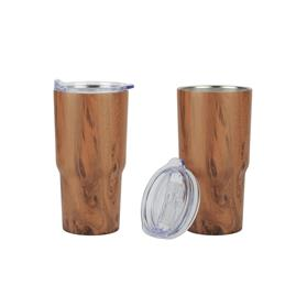 Contoured 20 oz Wood Tone Stainless Steel Tumbler