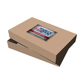 "19"" x 12"" x 3"" Kraft Pinstripe Apparel Box"
