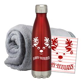 CORAL FLEECE BLANKET BOTTLE COMBO SET