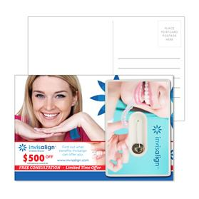 Post Card with Credit Card Style Dental Floss with Mirror