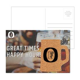 Post Card with Beer Mug Cork Coaster