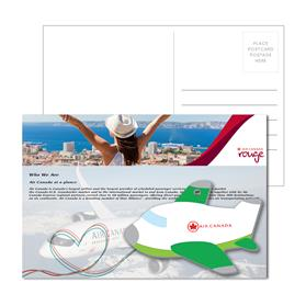 Post Card With Full-Color Green Plane Luggage Tag