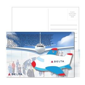 Post Card With Full-Color Blue Plane Luggage Tag