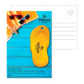 Post Card With Full-Color Orange Flip Flop Luggage Tag