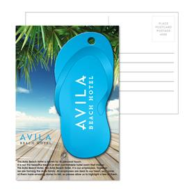 Post Card With Full-Color Blue Flip Flop Luggage Tag