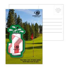 Post Card With Full-Color Golf Bag Luggage Tag