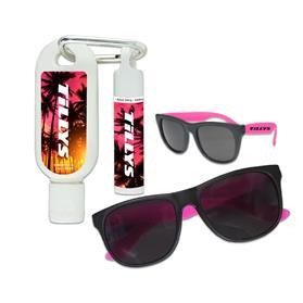 Sunblock with lip balm and sunglass